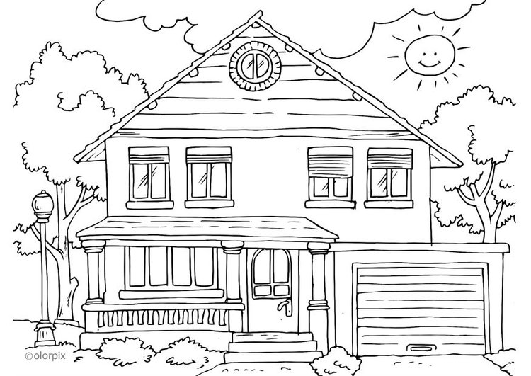 Kleurplaat Huis Buitenkant Afb 25996 Images