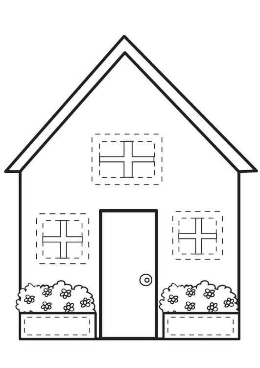 Kleurplaten In Om Huis.Kleurplaat Huis Afb 7095