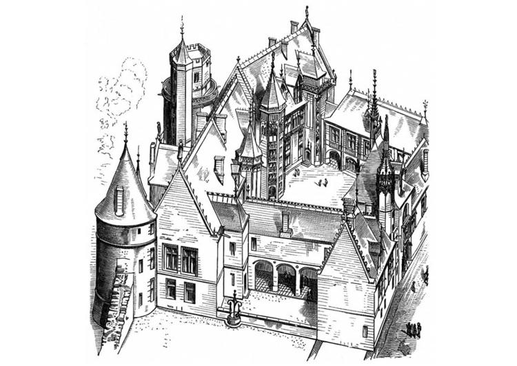 Kleurplaat Huis In Frankrijk Bourges 1443 Afb 11267