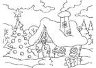 Kleurplaat huis in kerstsfeer