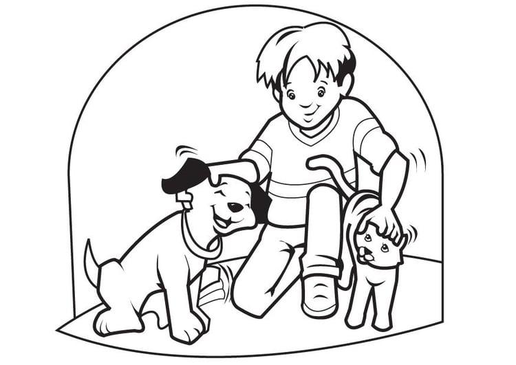 Kleurplaten Huisdieren.Kleurplaat Huisdieren Hond En Kat Afb 7096