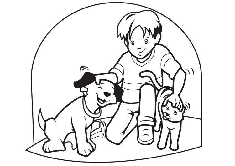 Kleurplaten Huisdier.Kleurplaat Huisdieren Hond En Kat Afb 7096