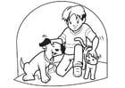 Kleurplaat huisdieren hond en kat