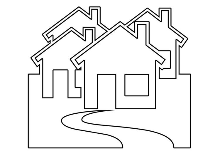 Kleurplaat Huizen Afb 22534