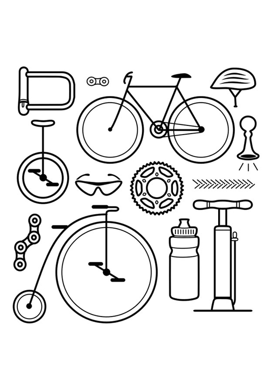 kleurplaat iconen fiets afb 29593