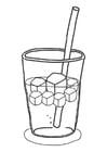 Kleurplaat ijsblokjes in drankje