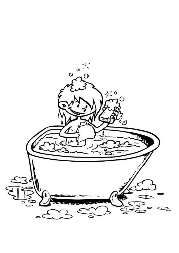 kleurplaat in bad afb 19195