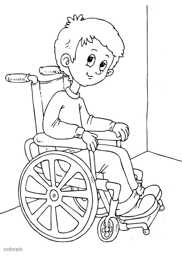 kleurplaat in een rolstoel afb 25947