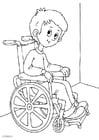 Kleurplaat in een rolstoel