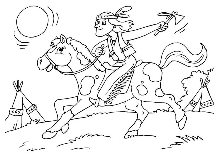 Paard Opgezadeld Kleurplaat Kleurplaat Indiaan Op Paard Gratis Kleurplaten Om Te Printen