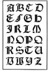Kleurplaat italiaans gotisch lettertype