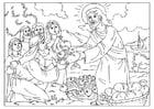 Kleurplaat Jezus deelt brood en vis