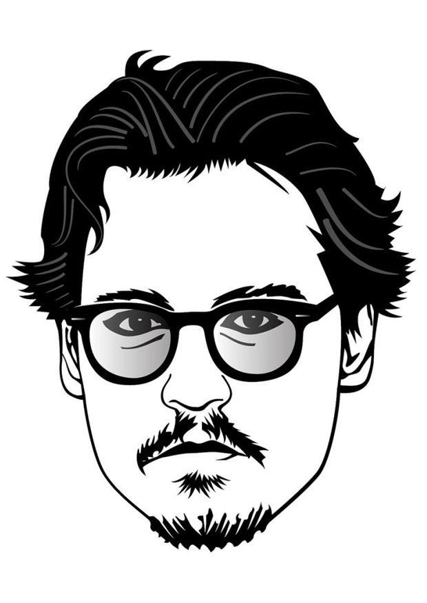 Kleurplaat Johnny Depp - Afb 24674. джонни депп