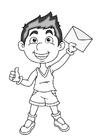 Kleurplaat jongen met brief