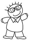 Kleurplaat jongen met bril