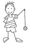 Kleurplaat jongen met jojo