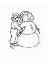 Kleurplaat jongen met sneeuwpop