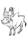 Kleurplaat jongen op koe