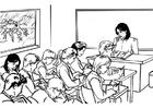 Kleurplaat juffrouw voor de klas