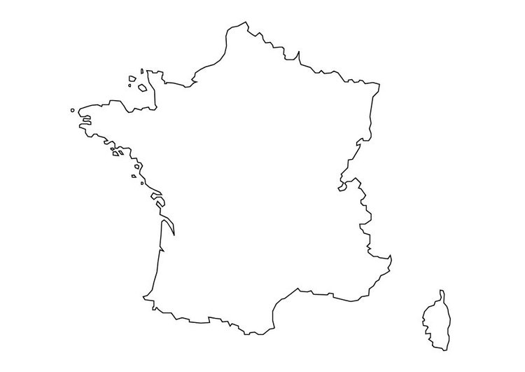 Kleurplaat Kaart Frankrijk Afb 10111