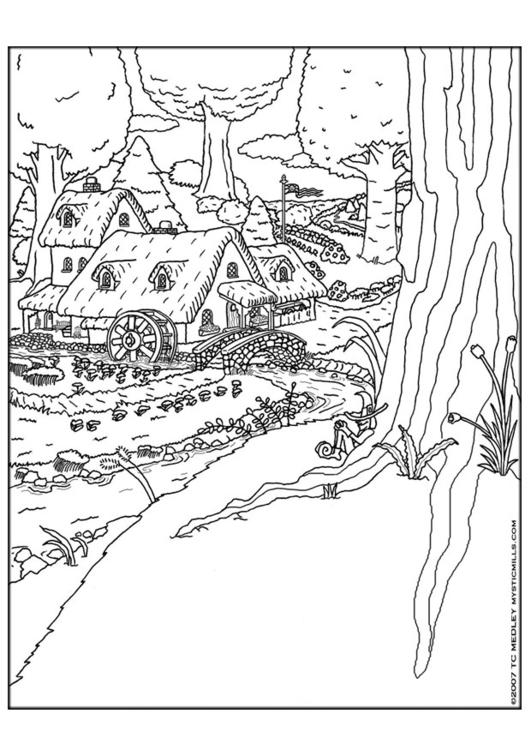 Kleurplaat Spookjes Kleurplaat Kabouterdorp Afb 9257