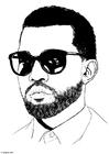 Kleurplaat Kanye West