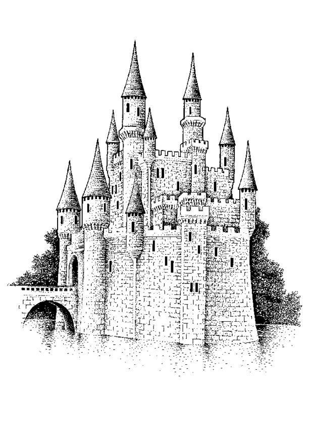 Kleurplaat kasteel afb 9084 - Dessin chateau moyen age ...