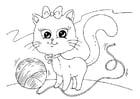 Kleurplaat kat en wol