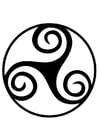 Kleurplaat Keltisch teken - triskell