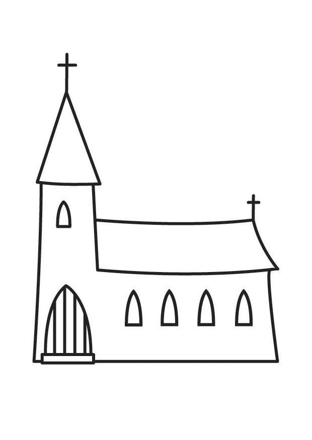 kleurplaat kerk afb 23136
