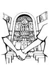 Kleurplaat kerk - huwelijk