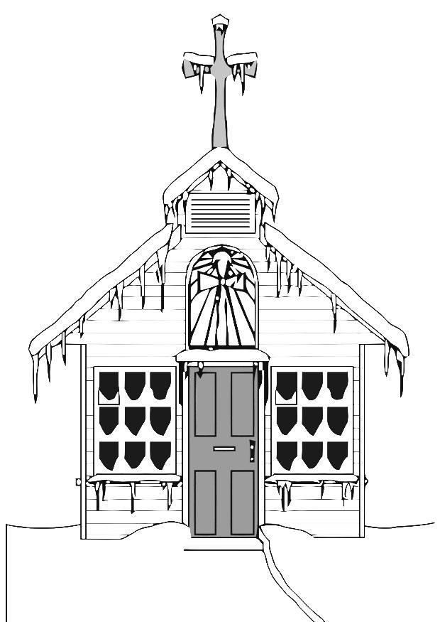 kleurplaat kerk in de winter gratis kleurplaten om te
