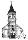 Kleurplaat kerk in de winter