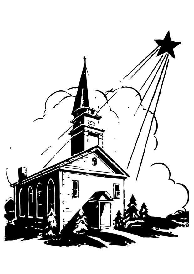Kleurplaten Printen Kerstster Tekening.Kleurplaat Kerk Met Kerstster Gratis Kleurplaten Om Te Printen