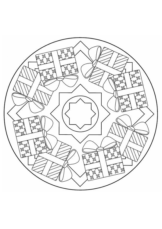Kleurplaten Kerst Sterren.Kleurplaat Kerst Mandala Afb 4403