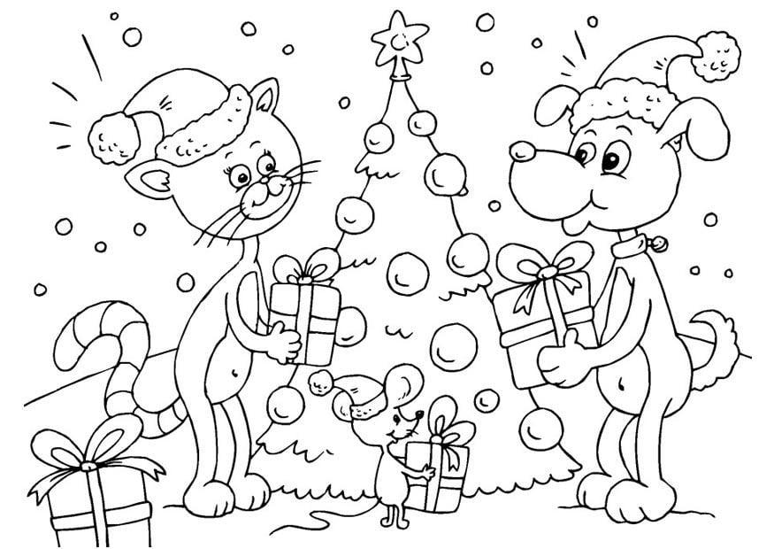 kleurplaat kerst voor dieren gratis kleurplaten om te