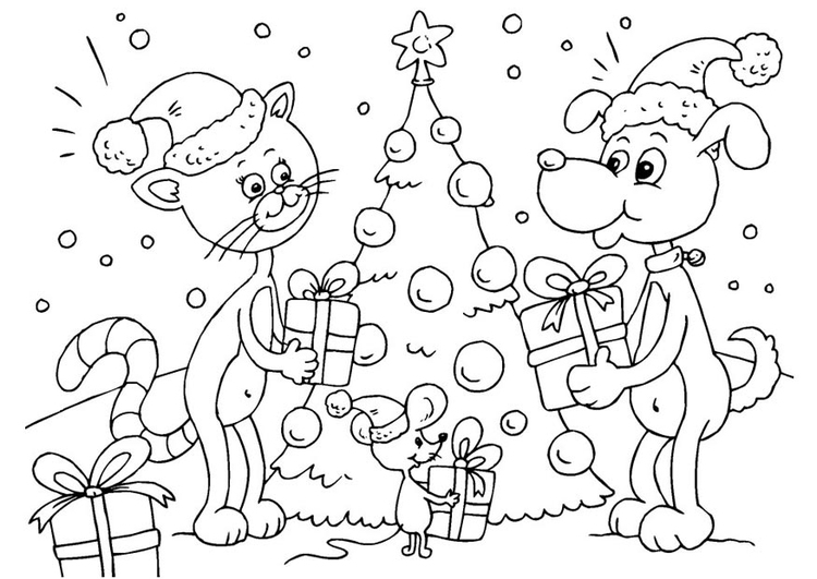 Kleurplaten Kerstmis Gratis.Kleurplaat Kerst Voor Dieren Gratis Kleurplaten Om Te Printen