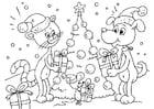 Kleurplaat Kerst voor dieren