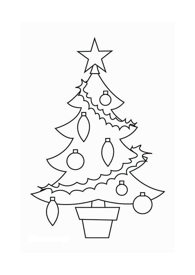 Kleurplaat Kerstboom Afb 16537