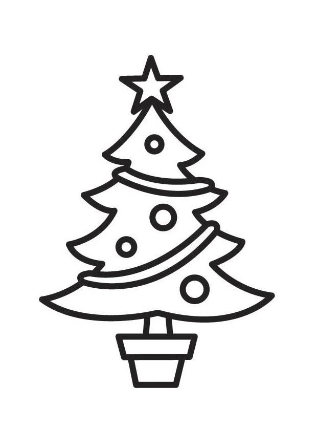 Kleurplaat Kerstboom Afb 18336