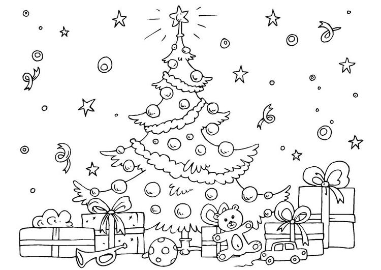 Kleurplaat Kerstboom Afb 23061
