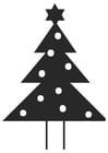 Kleurplaat kerstboom met kerstster