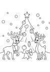 Kleurplaat kerstboom met rendieren