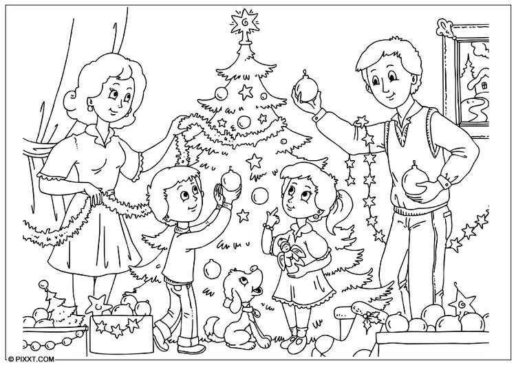 kleurplaten kerstboom versieren