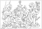 Kleurplaat kerstboom versieren