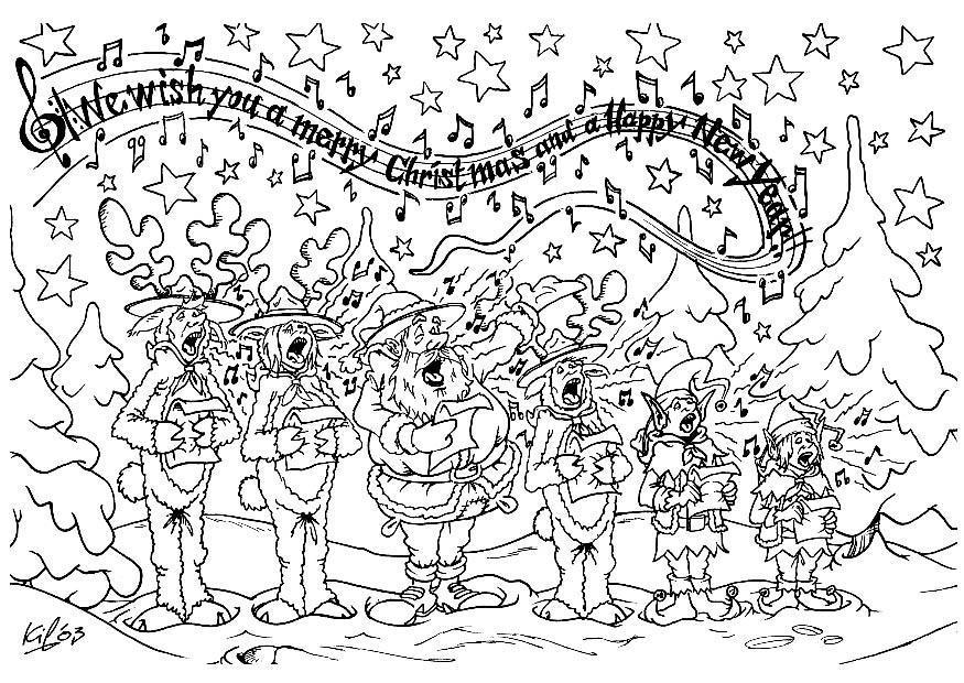Kerst Kleurplaten Sneeuwpop Kleurplaat Kerstkoor Afb 8730