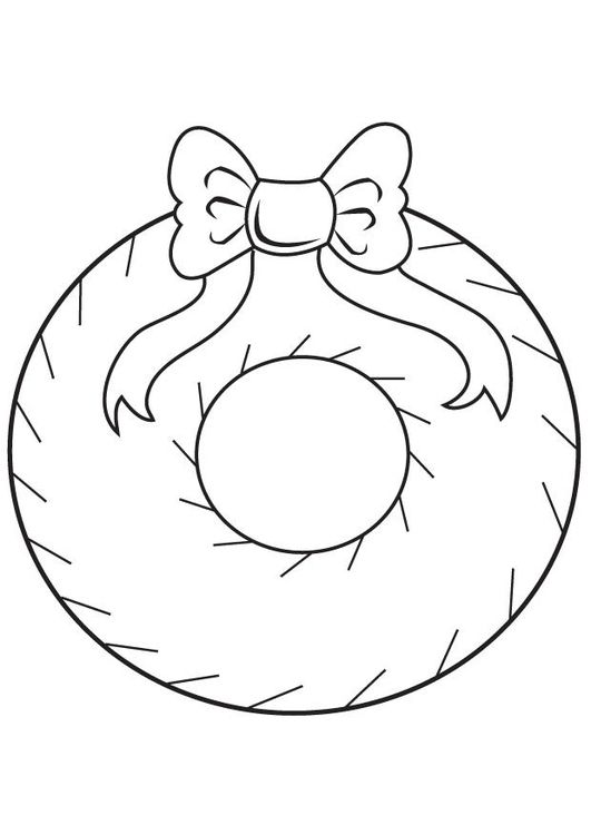 Kleurplaat kerstkrans afb 7099 for Christmas decoration coloring pages