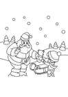 Kleurplaat kerstman geeft pakje