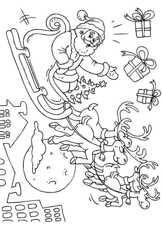 Kleurplaat Kerstman In Slee Afb 23379
