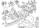 Kleurplaat kerstman in slee